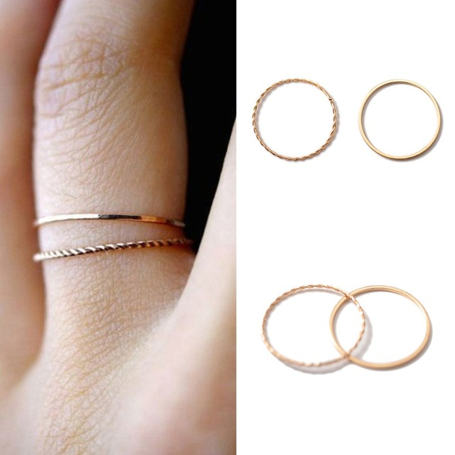 2PCS/Set Thin slim rose gold stacking knuckle ring set small finger MIDI finger