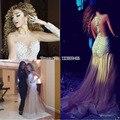 Fares árabe Cantor Myriam Vestidos No Tapete Vermelho 2017 Da Sereia Mangas Compridas Champagne Tulle Pérolas Longo mitation Celebrity Dresses