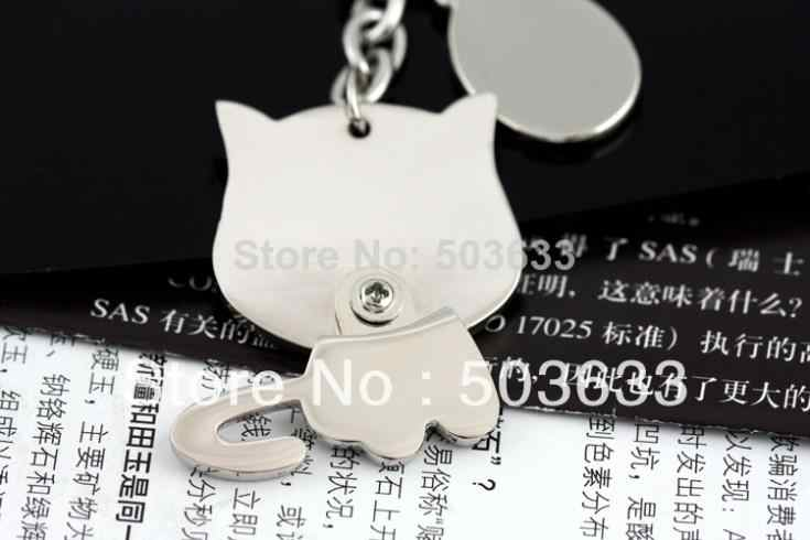Presente Engraçado criativo Agradável Movendo Gato Adorável Keychain Keyring do Anel Chave Fob Titular 85709