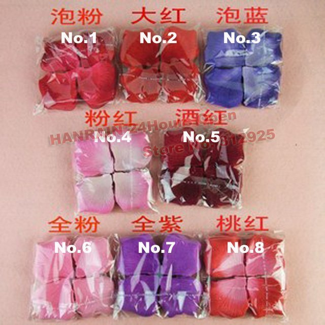 Hot sale 1152pcs/lot nice 8 colors heart silk rose petals wedding petals favors+china post Free shipping