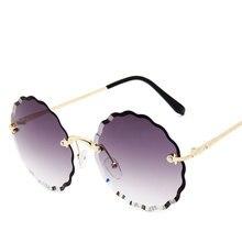 Rimless Women Sunglasses 2019 High Quality Clear Su