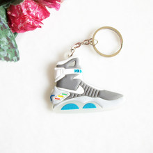 Mini Silicone Back To The Future II Glow In The Dark Air Mag Keychain Kids Key Rings Sneaker Key Holder Jordan Shoes Key Chain(China)