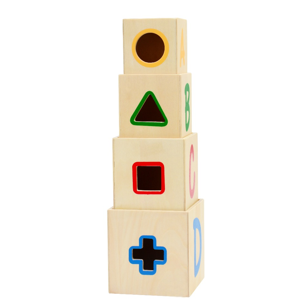 Superb Wooden Shape Sorter Stacking Blocks Educational Wood Baby Toys Children  Multifunction Early Learning Wooden Cube Color Learn In Blocks From Toys U0026  Hobbies ... Nice Look