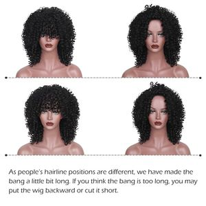 Image 4 - AISI HAIR Short Afro Kinky Curly Wig Natural Black Synthetic Wigs for Women Black Mixed Brown Wig Heat Resistant Fiber
