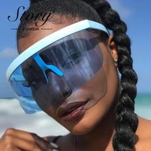 STORY Vintage Retro Shield Visor Mask Sunglasses 2018 Oversized Windproof Glasse