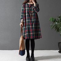Autumn Winter Dress Plus Size Clothing Casual Women Dress Vintage O Neck 3 4 Sleeve Loose