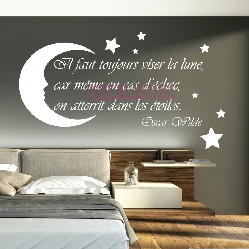 French Stickers Moon Stars Vinyl Wall Sticker Decals Art Wallpaper For Kids Living Room Home Decor