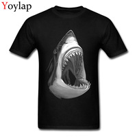Youth Cotton Tops Tees Cool Men S T Shirt Shark Print Fashion O Neck Short Sleeve