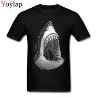 Youth Cotton Tops Tees Cool Men S T Shirt Shark Print Fashion O Neck Short Sleeve