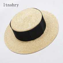 2019 Fashion Summer sun Hat Women Wide sides traw hat Black Ribbon Sun Visor Hats Beach Sunhats With Holiday Feminino