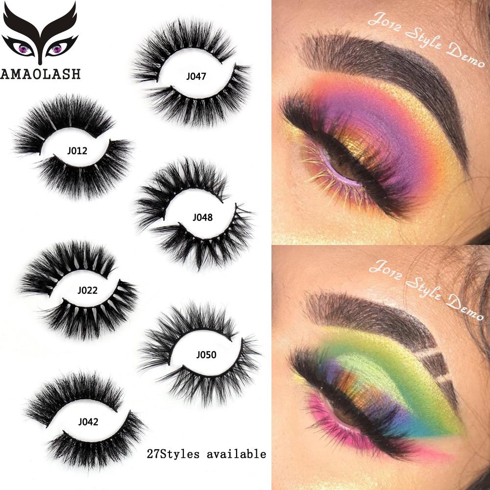 AMAOLASH False Eyelashes 3D Mink Lashes Luxury Handmade Natural Long Eye Thick Fluffy