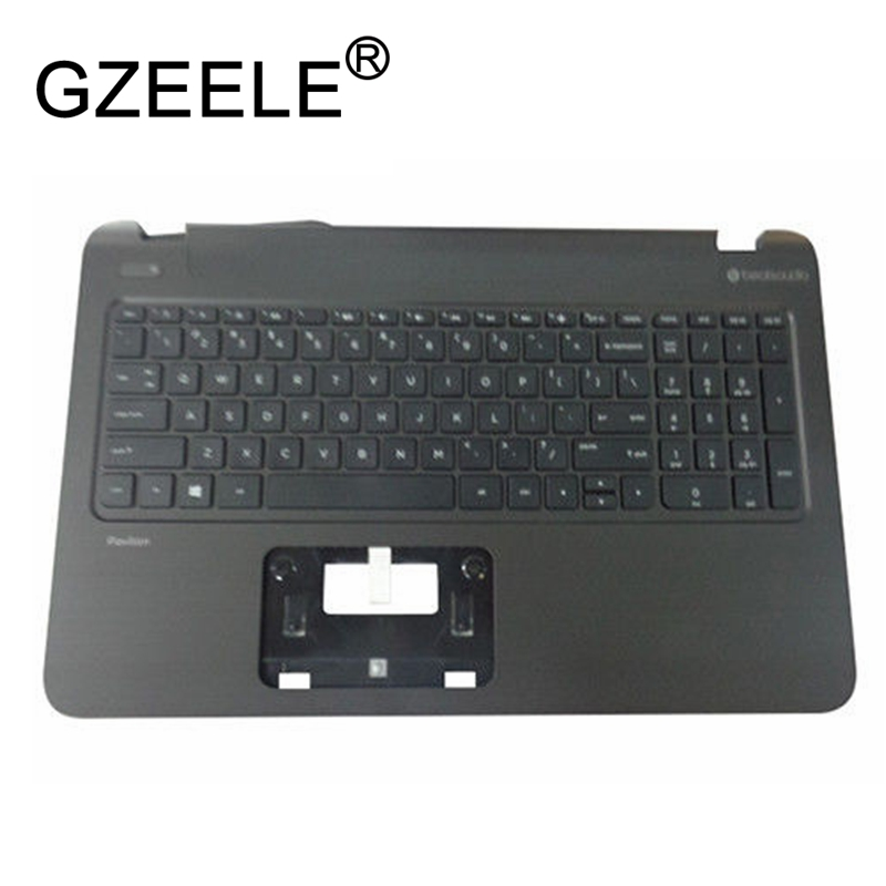 GZEELE new for HP Pavilion 15-P 15T-P 15Z-P series Palmrest Top Case Assembly upper cover keyboard bezel laptop 762529-001 BLACK laptop palmrest for hp pavilion 15 n000 15 n100 black with touch pad big enter 1a32h84006 95% new