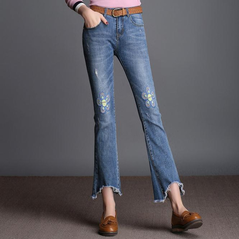 Fashion Wide leg jeans Female spring and summer embroidered women nine points pants Large size loose casual pants
