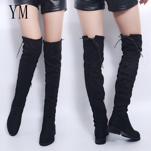 3 color muslo botas altas mujer botas de invierno las mujeres sobre la rodilla botas planas Stretch Sexy zapatos de moda 2018 nuevo montar 43
