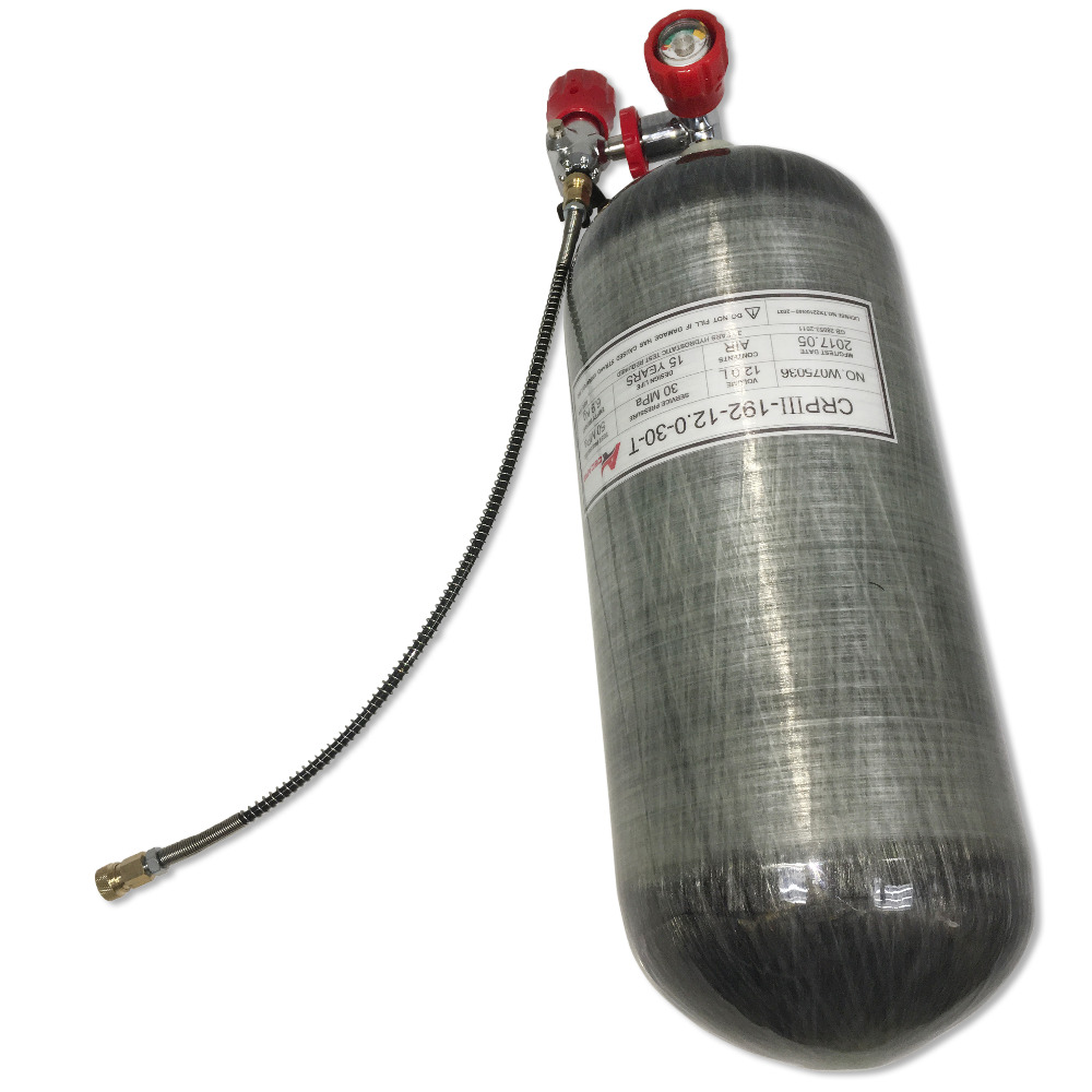 AC31321 Underwater Paintball Air Rifle Hpa Tank 12L Cylinder Carbon Air Tank Pcp 4500Psi Diving Balloon For Compressed Air Scuba