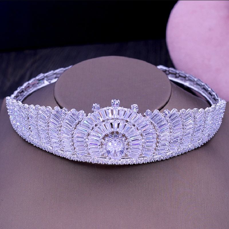 Luxury Bridal AAA Cubic Zircon Tiaras Crowns Princess Queen Pageant Prom Tiara Headband Beauty Wedding Hair Accessorie H-061