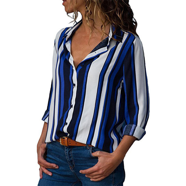 Chiffon Blouse Women Long Sleeve Striped Shirt Turn Down Collar Office Shirt Casual Tops Blusas Femininas Chemise Plus Size