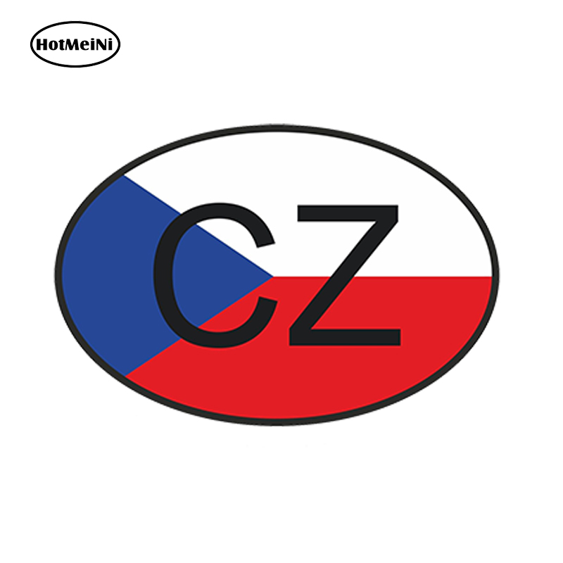 HotMeiNi 13cm x9.1cm Car Styling Cz Czech Republic Country Code Oval With Flag Car Sticker Helmet Waterproof Bumper Accessories argentina ra for republica argentina in spanish and argentinian flag car bumper sticker decal oval