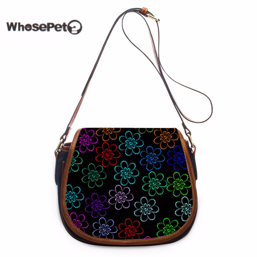 WHOSEPET Flowers Multi-color Woman's Small Messenger Bags Fashion Iphone Crossbody Bag for Female PU Small Bolsas femininas New все цены