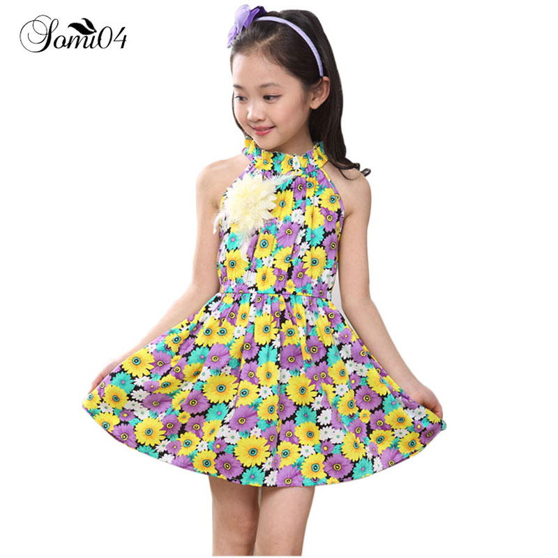 2018 New Children's Clothing Dress Kids 5 6 7 8 9 10 11 12 13 Years Old Girl Flowers Halter Dresses Floral Ruffles Party Outfits river old satellite maxima vespa 7 6 гр код цв 13