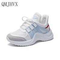 QMJHVX 2019 Fashion Shoes Woman Student Casual Platform Shoes Suede White Women's Vulcanize Shoes Sneakers Women zapatos de muje