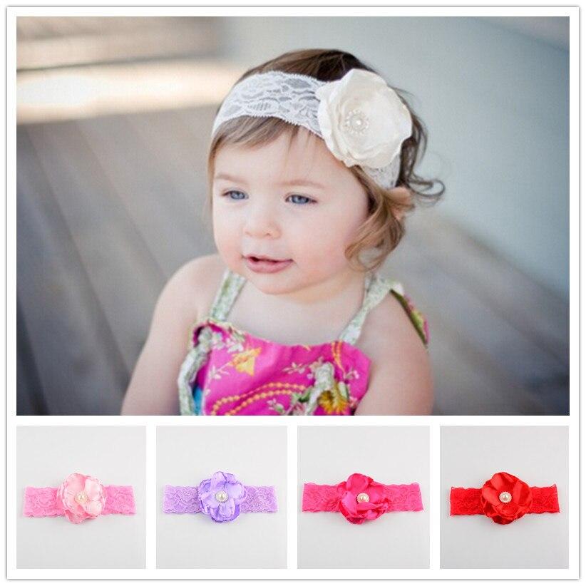 babygirls lace headband flower hair band pearls decor infanthair accessories babyheadwear 2016. Black Bedroom Furniture Sets. Home Design Ideas