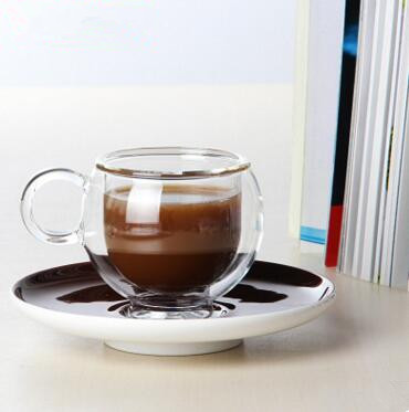 Glass Tea ware Coffee cup with tray   European hig...