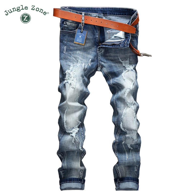 JUNGLE ZONE ripped Jeans men brand clothing high quality male jeans fashion casual mens denim pants trouser for men 089030 classic mid stripe men s buttons jeans ripped slim fit denim pants male high quality vintage brand clothing moto jeans men rl617