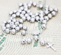 """Super Heavy 12mm Beads (30""""+5.5"""")/236g Men's Ball Cross Rosary Long Chain Necklace Stainless Steel"""