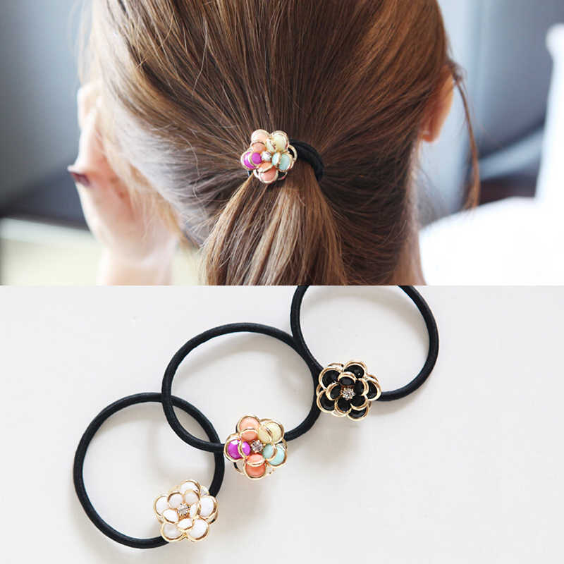 T M MISM Flowers Rhinestones Hair Accessories Ornaments Bezel Rubber Gum Elastic Hair Bands Scrunchy for Women Girls