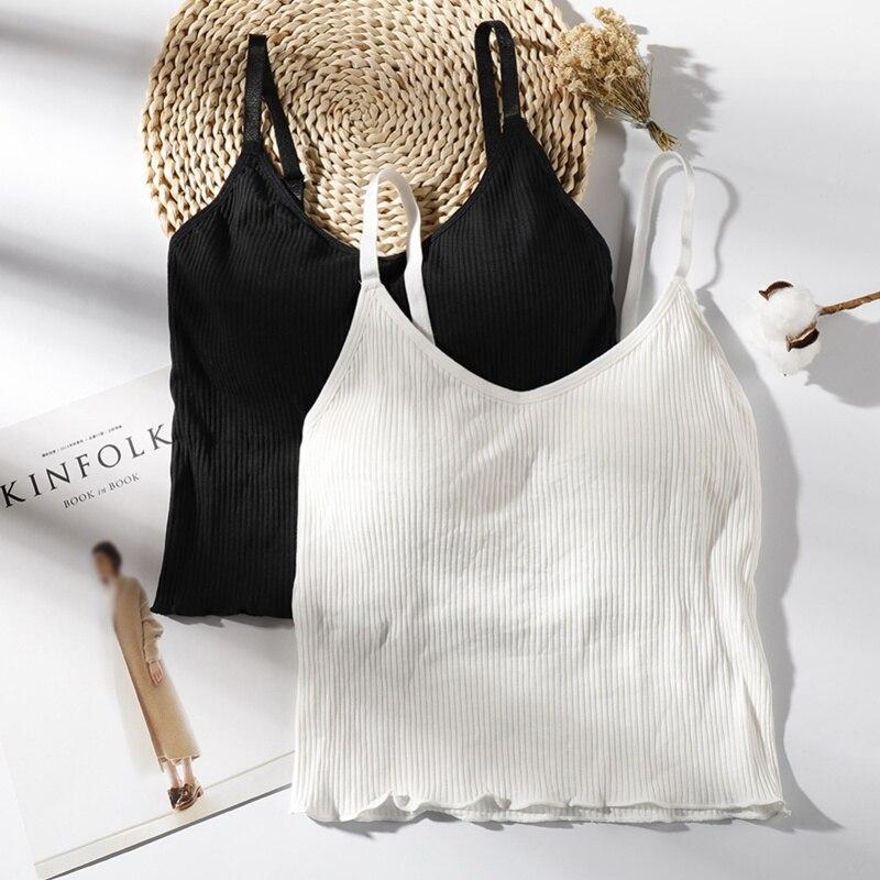 Liva Girl 2019 Summer Slim Crop Tops Sexy Women Sleeveless Tank Adjustable Padded Camisoles