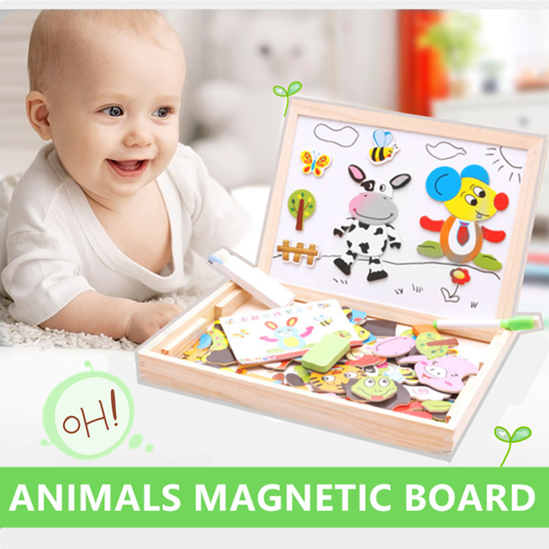 Wooden 2 In 1 Double Side Baby Sorting &Nesting&Stacking&Drawing&Writing Board Magnetic Puzzle Game Educational Toy For Children