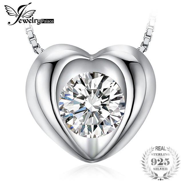 156aaf69f JewelryPalace Love 0.4ct Cubic Zirconia Solitaire Heart Pendant Necklace  Real 925 Sterling Silver Fashion Jewelry 45cm Chain