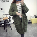 Yizikkco marca 2016 nueva otoño invierno mujer sweaters cardigans suéter de punto para mujer cardigan sweter tire femme mujer whd264