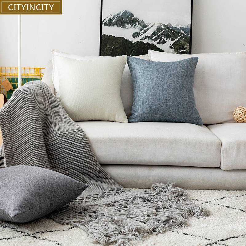 CITYINCITY Solid Cushion Cover polyester faux linen <font><b>Pillow</b></font> <font><b>Case</b></font> <font><b>Pillow</b></font> cover Home Decor For sofa bed car seat 45x45 <font><b>50x50</b></font> image