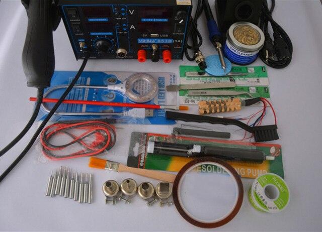 4in 1set 853D 1A USB 110V 220V Hot Air Gun Rework Station Soldering iron Heat Gun
