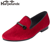 Harpelunde Men Flat Shoes Red Velvet Loafers With Woven Buckle