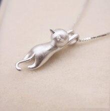 Gargantilla de gato de cadena larga para mujer, collares de Color plata auténtica, joyería llamativa, regalo de Navidad para niña