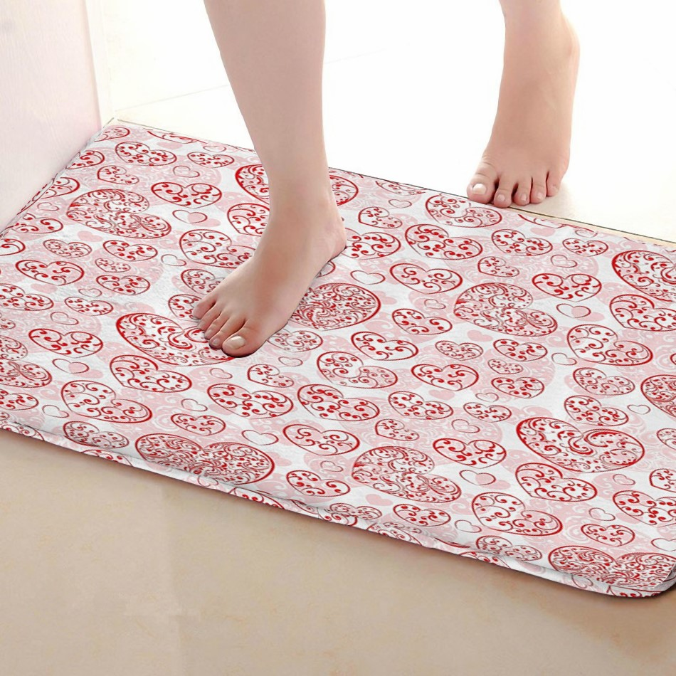 Love Style Bathroom Mat,Funny Anti skid Bath Mat,Shower Curtains Accessories,Matching Your Shower Curtain