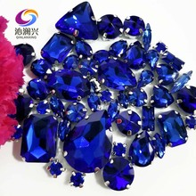 Sell at a loss!! 68pcs/pack Royalbblue mix size high quality glass crystal material sew on rhinestones,diy/Clothing accessorie