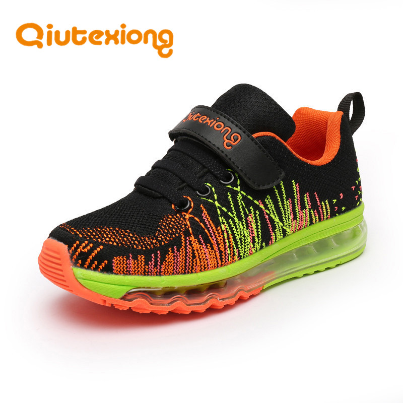 QIUTEXIONG Children Shoes For Boys Sneakers Girls Sport Shoes Air Mesh Anti-Slip Rubber Kids Casual Shoe Running Trainer Sneaker forudesigns kids sport shoes boys girls for children walking cycling running nebula pringting lace up sneaker shoes outdoor