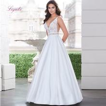 Liyuke Wedding Dress A-line V-neck Backless Court Train