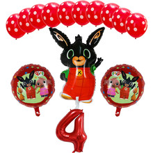 14pcs 86*60cm Bing Bunny Foil Balloon Cartoon Rabbit Balloons 30inch Number Baby 1 2 3 4 5th Birthday Party Decor Supplies Toys(China)