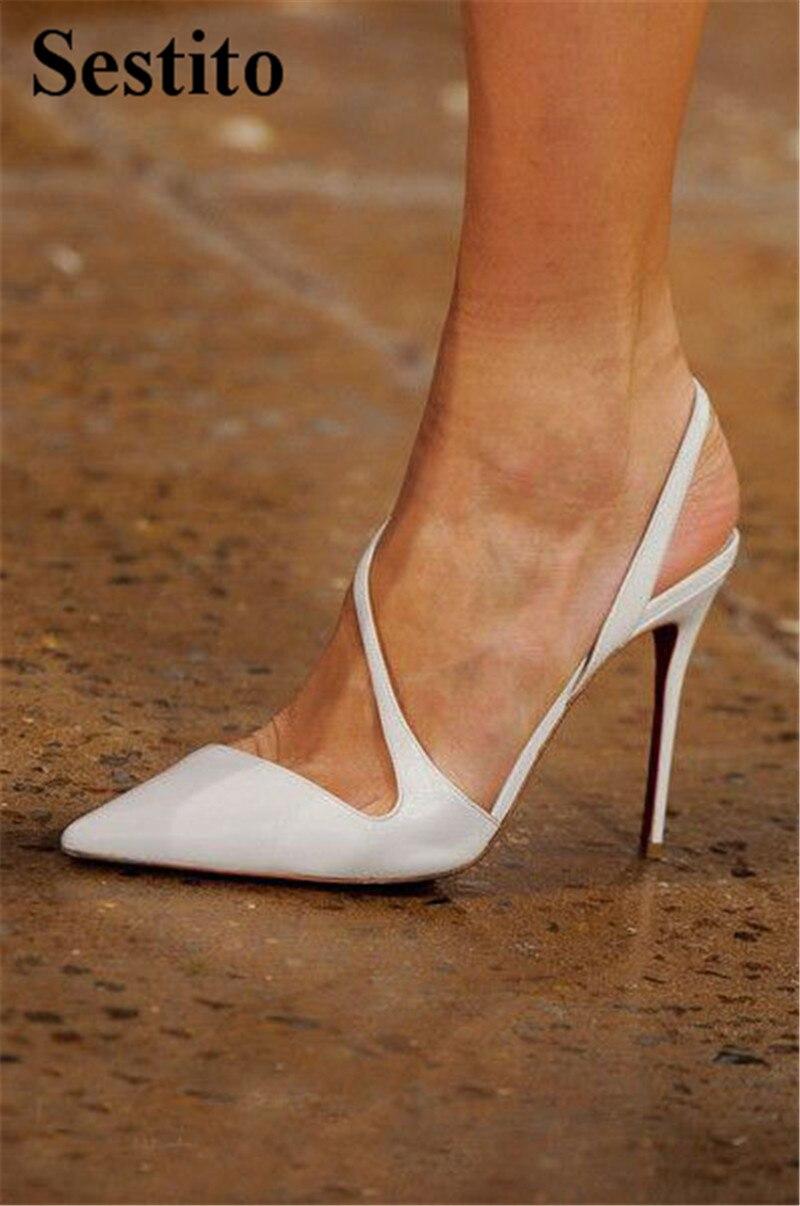 Модные весенние вечерние туфли лодочки белого цвета с острым носком на очень высоком тонком каблуке, женские туфли лодочки, повседневная женская обувь без шнуровки на высоком каблуке с открытой спиной