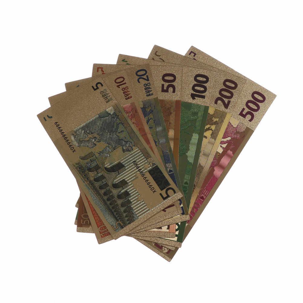 7 шт евро памятные банкноты 5-500Dollar 24K позолоченные поддельные банкнота из фольги коллекция сувенир антикварное покрытие украшения