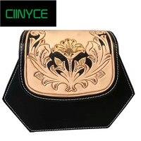 High quality Chinese style Genuine Leather Vintage flower pattern purse Retro handbag fashion Shoulder Messenge bag women