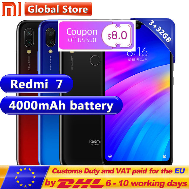 Xiaomi Redmi 7 3GB 32GB Redmi7 Smartphone Qualcomm Snapdragon 632 Octa Core Mobile phone 4000mAh 12MP 6.26'' Full screen 19:9