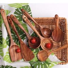 7 видов, деревянная лопатка из тайского тика, лопатка с рисовой ложкой, большой совок для приготовления пищи, деревянная кухонная посуда