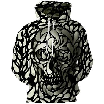 Skull Hoodie Men 3D Print Sweatshirts Pullovers Streetwear Clothes