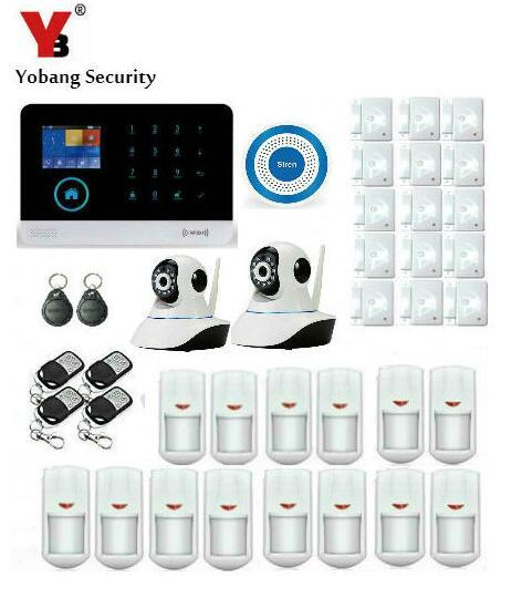 Best Price Yobang Security App Remote Control Wireless WIFI SMS Gsm Alarm System LCD Display Door Sensor HD IP Camera Home Security Alarm